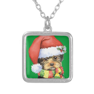 Happy Howliday Yorkie Square Pendant Necklace