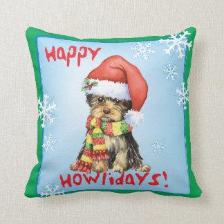Happy Howliday Yorkie Throw Pillow