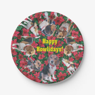 Happy Howlidays Beagle Christmas Paper Plates 7 Inch Paper Plate