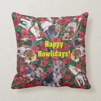 Happy Howlidays Beagle Christmas Pillow