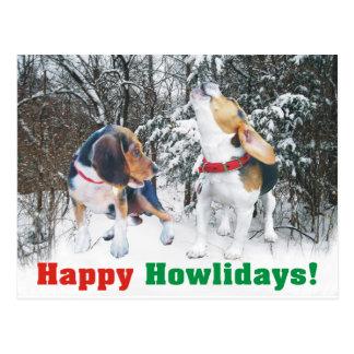Happy Howlidays! Beagle Snowy Woods Post Card