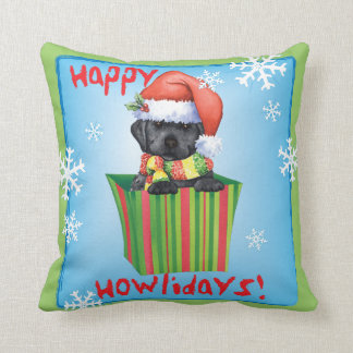 Happy Howlidays Black Lab Throw Pillow