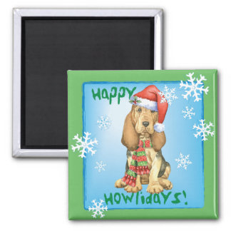 Happy Howlidays Bloodhound 2 Inch Square Magnet