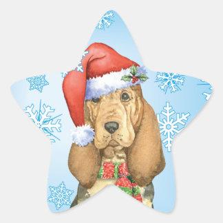 Happy Howlidays Bloodhound Star Sticker