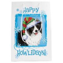 Happy Howlidays Border Collie Medium Gift Bag