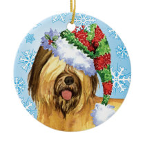 Happy Howlidays Briard Ceramic Ornament