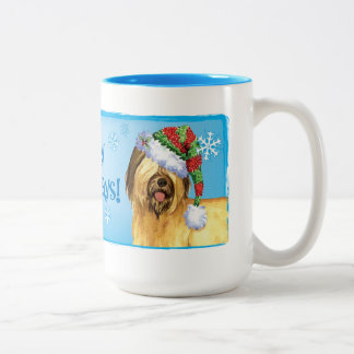 Happy Howlidays Briard Two-Tone Coffee Mug