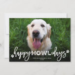"""Happy Howlidays Brush Script Dog Lover Photo Pet Holiday Card<br><div class=""""desc"""">Happy Howlidays (Happy Holidays) Typography And Paw Prints Cute Dog Lover Funny Pet Holiday Photo Card.  Designed by fat*fa*tin. Easy to customize with your own text,  photo or image. For custom requests,  please contact fat*fa*tin directly. Custom charges apply.  www.zazzle.com/fat_fa_tin www.zazzle.com/color_therapy www.zazzle.com/fatfatin_blue_knot www.zazzle.com/fatfatin_red_knot www.zazzle.com/fatfatin_mini_me www.zazzle.com/fatfatin_box www.zazzle.com/fatfatin_design www.zazzle.com/fatfatin_ink</div>"""