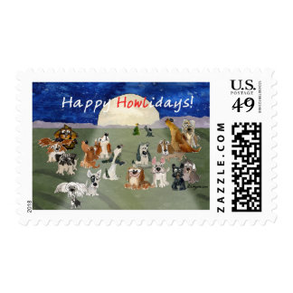 Happy Howlidays Cartoon Christmas Dogs Postage