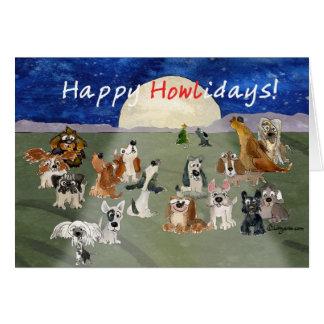 Happy Howlidays Cartoon Dogs Christmas Card