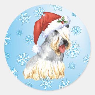 Happy Howlidays Cesky Terrier Classic Round Sticker