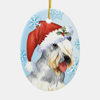 Happy Howlidays Cesky Terrier Double-Sided Oval Ceramic Christmas Ornament