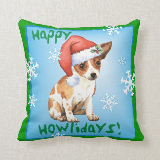 Happy Howlidays Chihuahua Throw Pillow