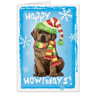 Happy Howlidays Chocolate Lab Card