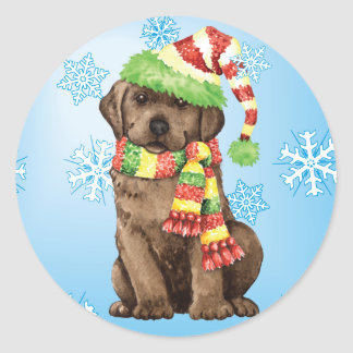 Happy Howlidays Chocolate Lab Classic Round Sticker