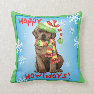 Happy Howlidays Chocolate Lab Throw Pillow