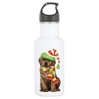 Happy Howlidays Chocolate Lab Water Bottle