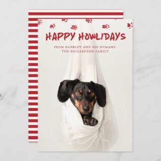 Happy Howlidays   Cute Pet Photo Christmas Holiday Card