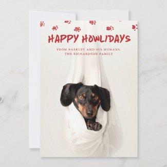 Happy Howlidays | Cute Pet Photo Christmas Holiday Card