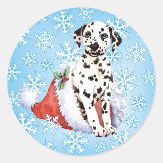 Happy Howlidays Dalmatian Classic Round Sticker
