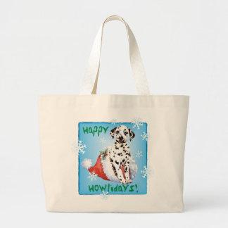 Happy Howlidays Dalmatian Large Tote Bag