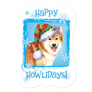 Happy Howlidays Icelandic Sheepdog Card