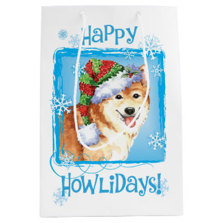 Happy Howlidays Icelandic Sheepdog Medium Gift Bag
