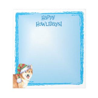 Happy Howlidays Icelandic Sheepdog Notepad