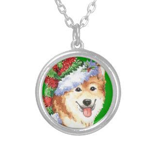 Happy Howlidays Icelandic Sheepdog Silver Plated Necklace