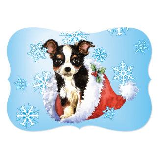 Happy Howlidays Long Coat Chihuahua 5x7 Paper Invitation Card