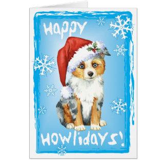 Happy Howlidays Mini American Shepherd Card