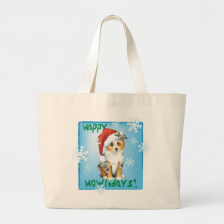 Happy Howlidays Mini American Shepherd Large Tote Bag