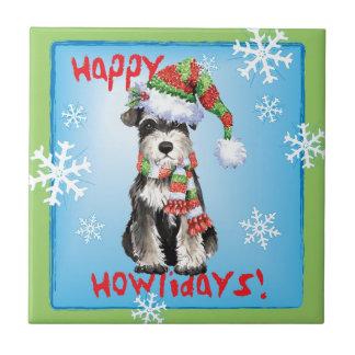 Happy Howlidays Miniature Schnauzer Tile