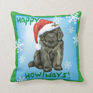 Happy Howlidays Newfoundland Throw Pillow