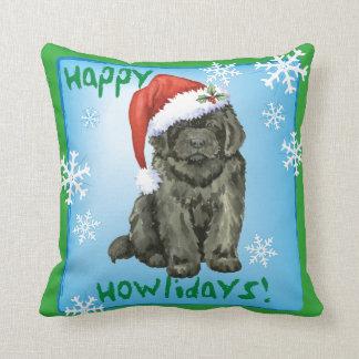 Happy Howlidays Newfoundland Throw Pillow