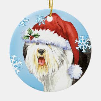 Happy Howlidays Old English Sheepdog Ceramic Ornament
