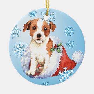 Happy Howlidays Parson Russell Terrier Ceramic Ornament