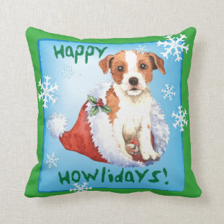 Happy Howlidays Parson Russell Terrier Throw Pillow