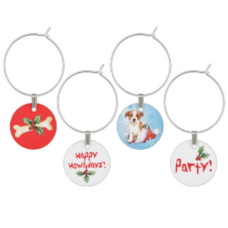 Happy Howlidays Parson Russell Terrier Wine Glass Charm
