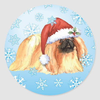 Happy Howlidays Pekingese Classic Round Sticker