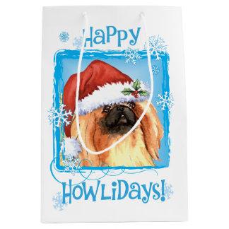 Happy Howlidays Pekingese Medium Gift Bag