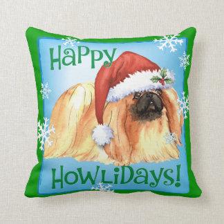 Happy Howlidays Pekingese Throw Pillow