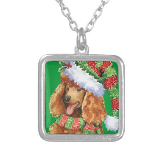 Happy Howlidays Poodle Silver Plated Necklace
