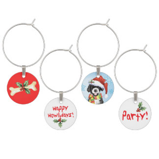 Happy Howlidays Portuguese Water Dog Wine Charms