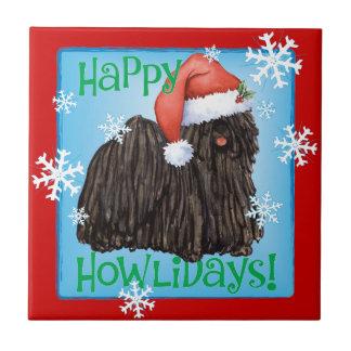 Happy Howlidays Puli Ceramic Tile