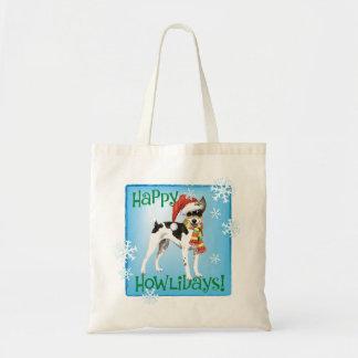 Happy Howlidays Rat Terrier Tote Bag