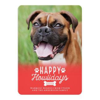 Happy Howlidays Red Christmas Dog Photo Card