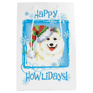 Happy Howlidays Samoyed Medium Gift Bag