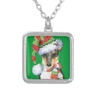 Happy Howlidays Smooth Collie Silver Plated Necklace