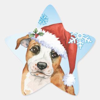 Happy Howlidays Staffordshire Bull Terrier Star Sticker